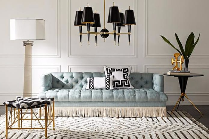 jonathan adler living room fringed sofa