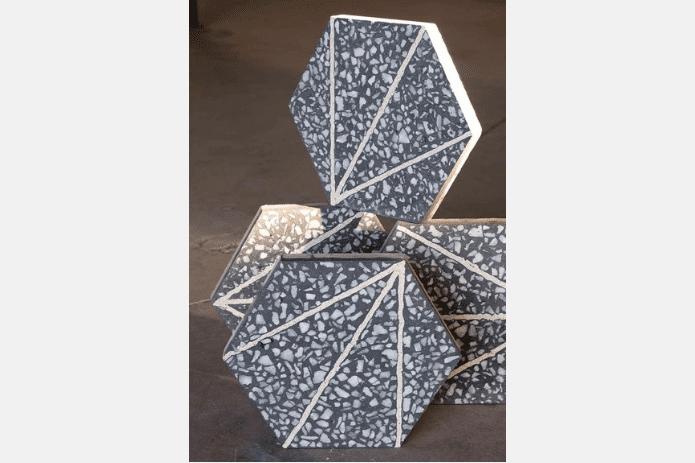 hexagonal terrazzo tiles