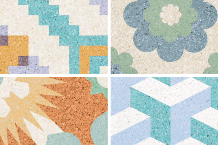 patterned pastel terrazzo