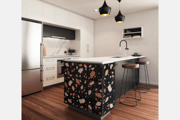 island with terrazzo in kitchen
