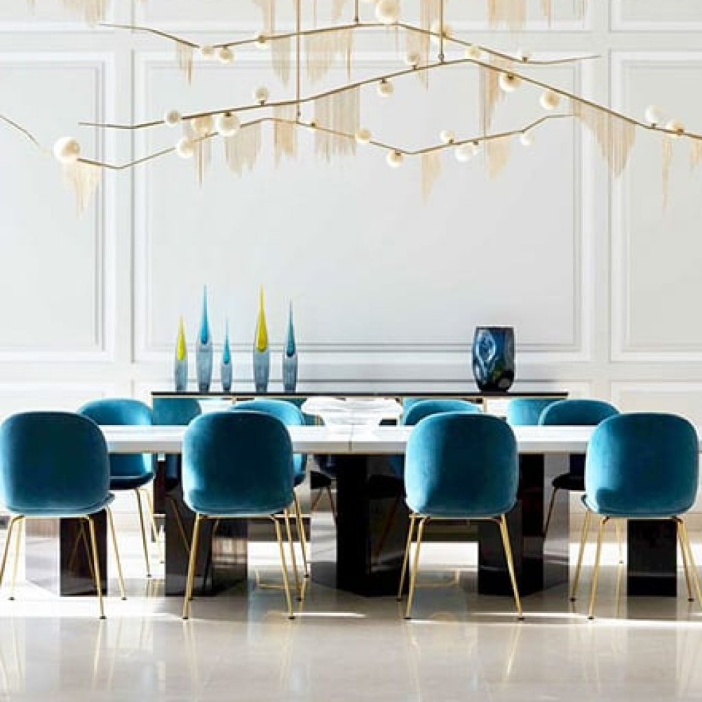 white dining room with blue accents