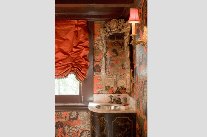 orange accent bathroom