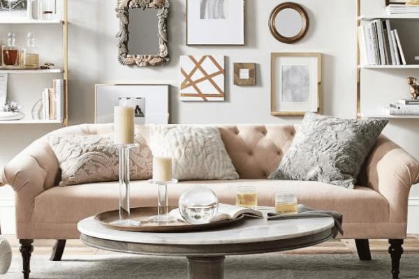 sofa with velvet pillows