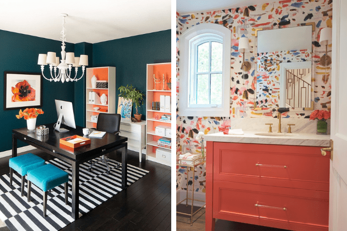office space and bathroom with orange accents