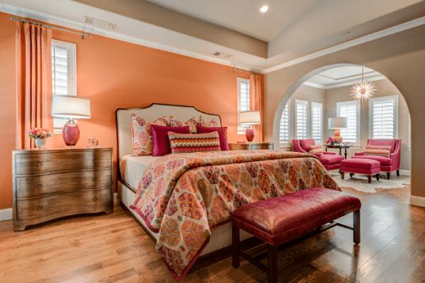 orange and fuschia bedroom
