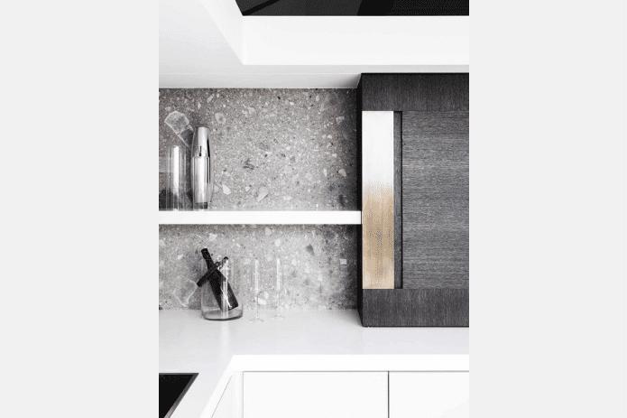 grey and white terrazzo