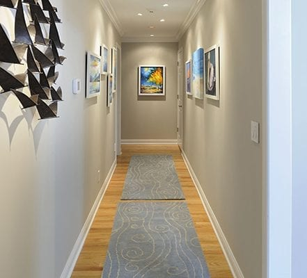 Gray runner rug at hallway