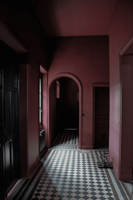 hallway in aubergine
