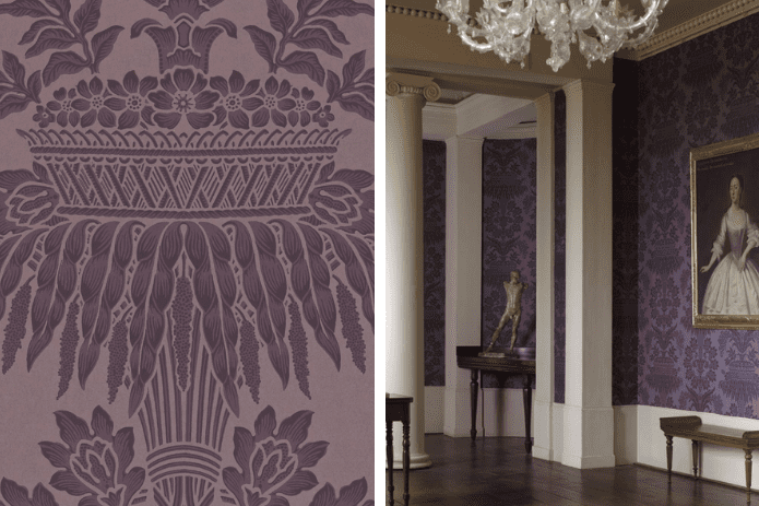 aubergine damask wallpaper