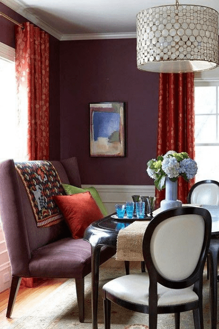 red and aubergine dining room