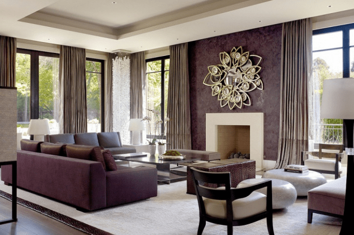 Gray and aubergine living room
