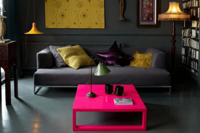 aubergine room with pink cocktail table
