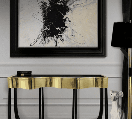 black and gold console