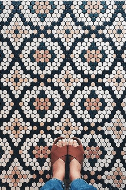brown and black mosaic tile