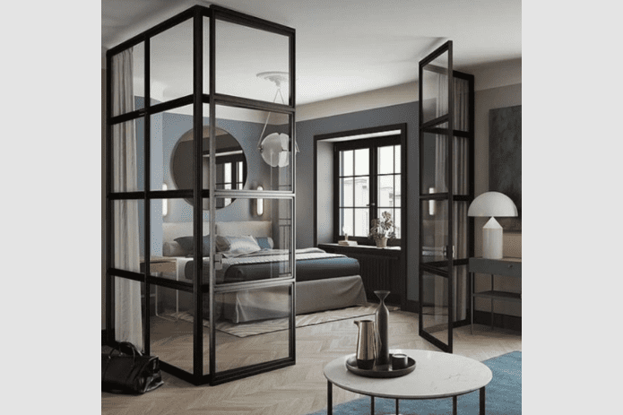 black steel room divider