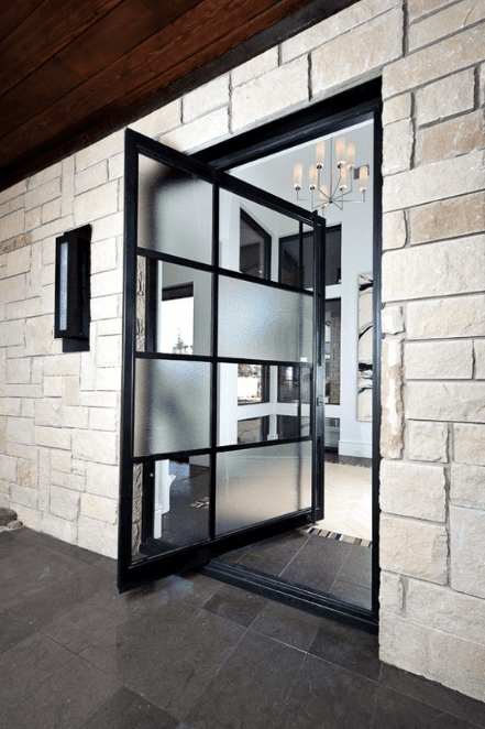black framed swivel door