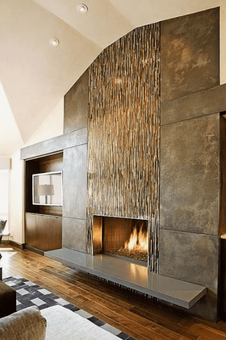 glass and tile fireplace