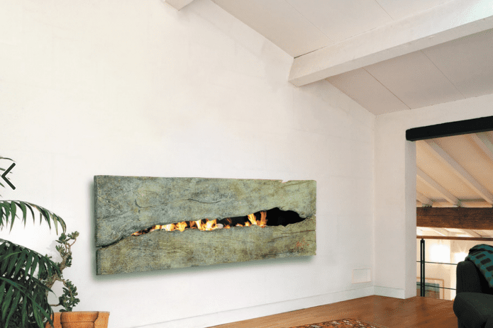 green fireplace