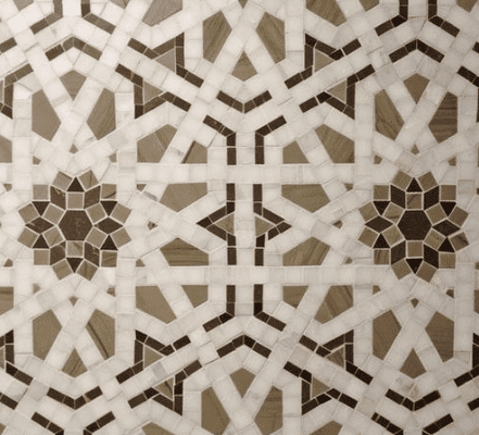 brown and white mosaic tile