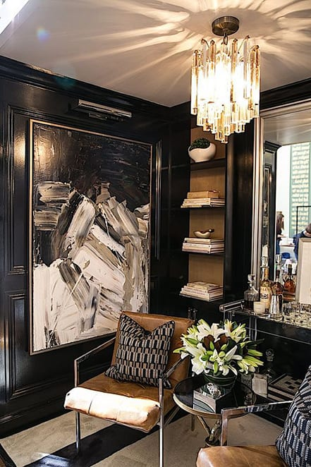 black glossy walls