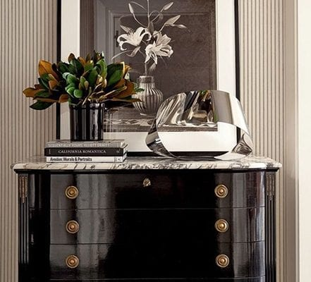 glossy black commode