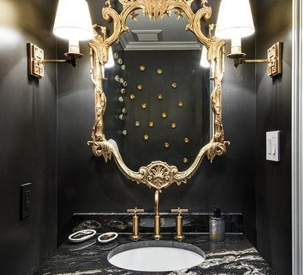 black glossy powder room