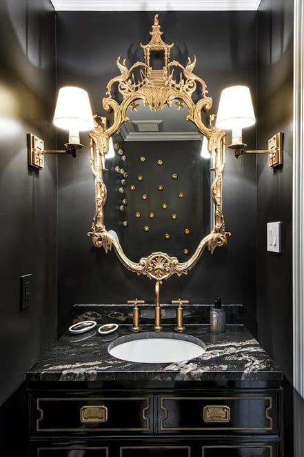 black glossy powder room