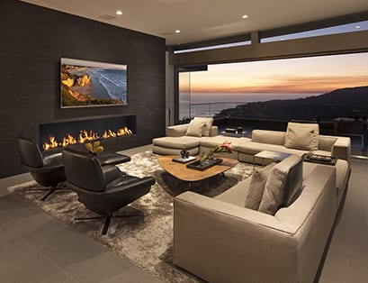 black wall with fireplace