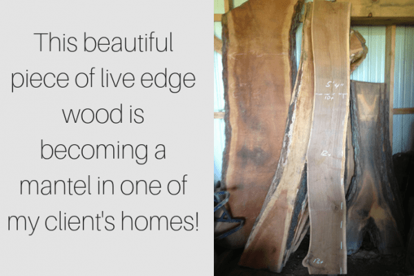 live edge wood mantel