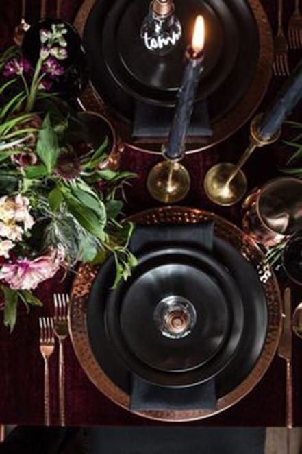 brown and black tablescape