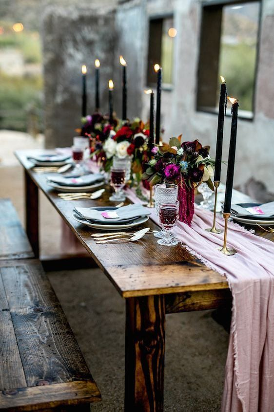 winter tablescape with candles and flowers