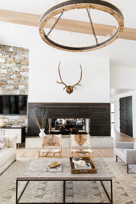 fireplace with antlers
