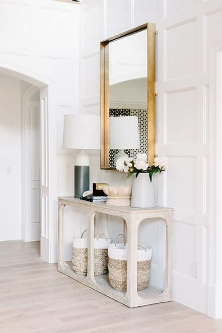 entry with baskets