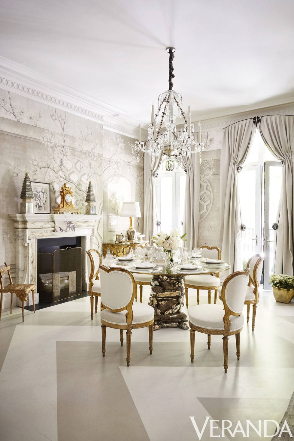 veranda gold and white dining room