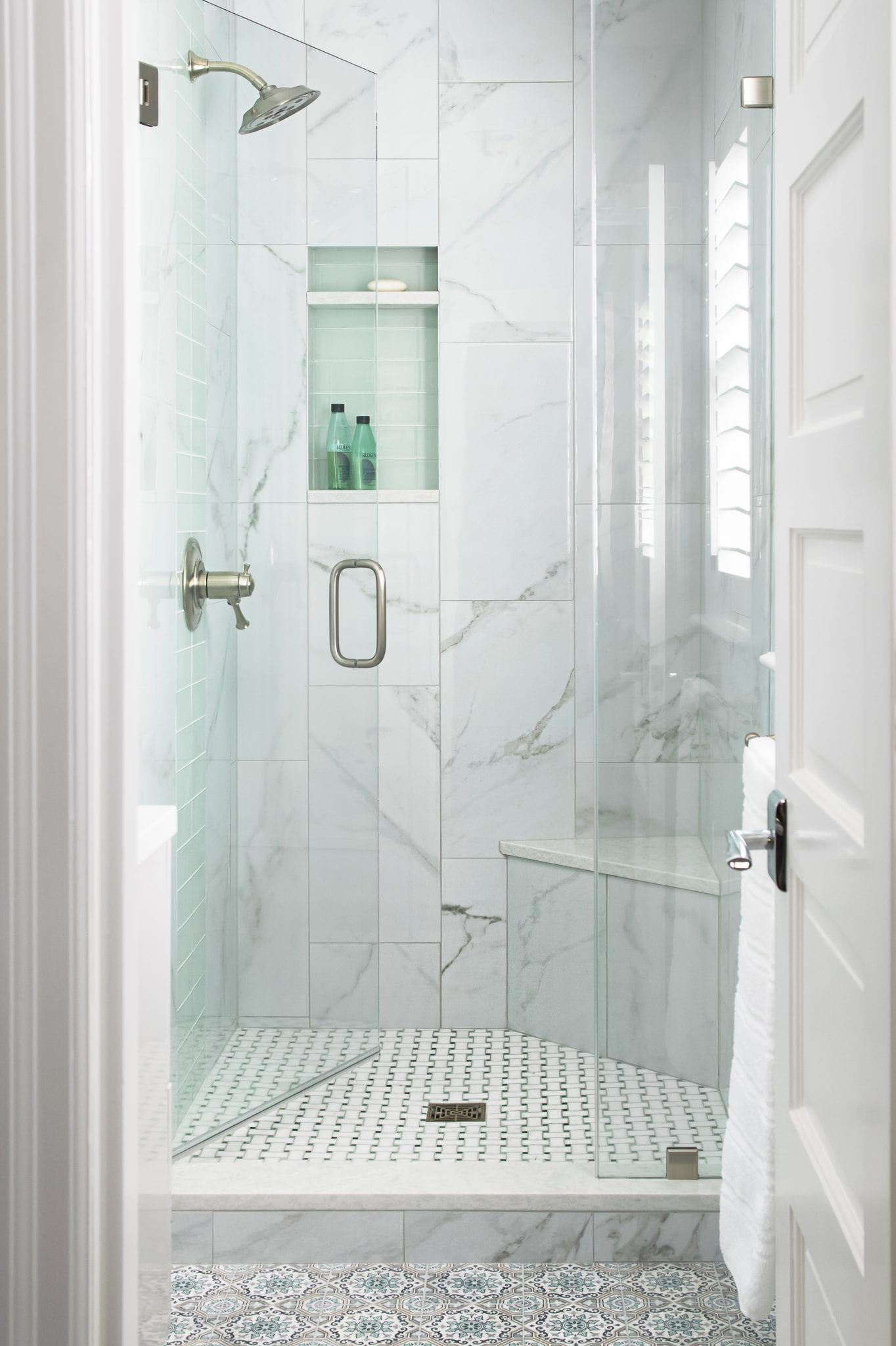 white marbel shower