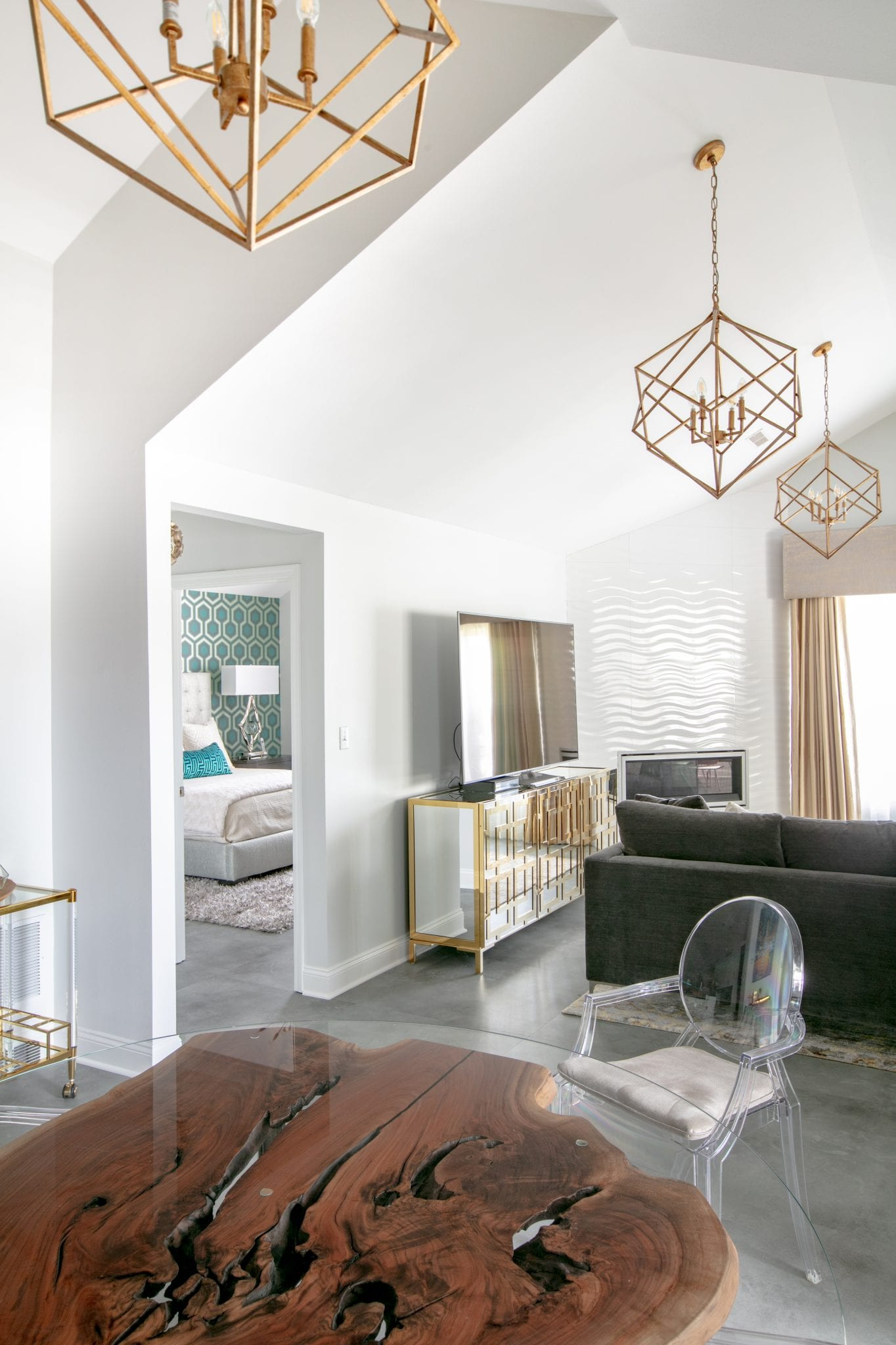 white and gold living space