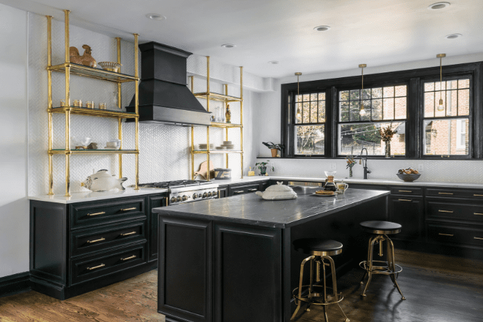 black cabinetry kitchen