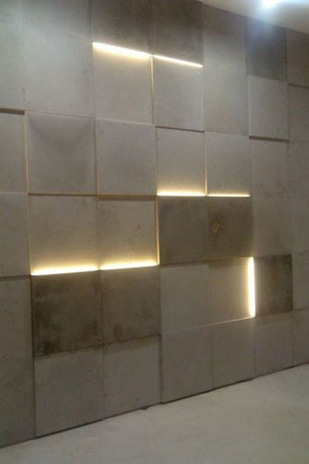 white wall with light panels